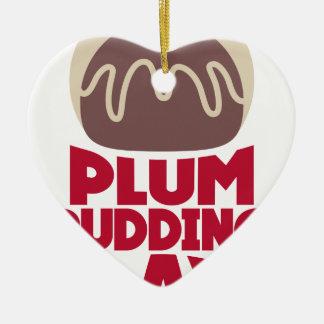 12 février - jour de pudding de prune ornement cœur en céramique