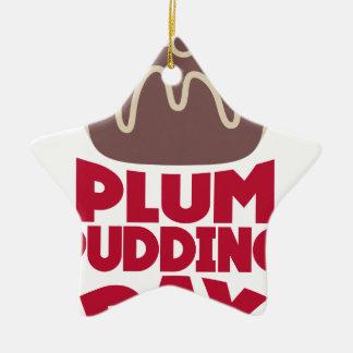 12 février - jour de pudding de prune ornement étoile en céramique