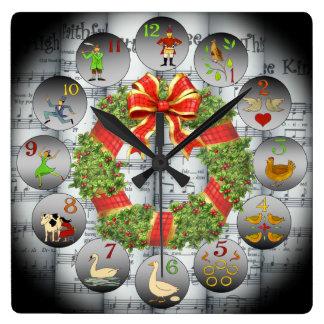 12 jours de guirlande de Music~Christmas de ~Sheet Horloge Carrée