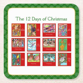 12 jours de ménagerie animale mignonne de Noël Dessous-de-verre Carré En Papier