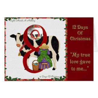 12 jours de traite des domestiques A de Noël huit Cartes