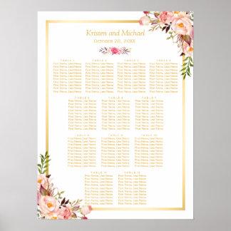 12 Tableaux épousant floral chic chic de diagramme Poster