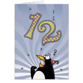 12ème anniversaire - carte de surprise de pingouin