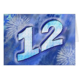 12ème Carte d'anniversaire avec des feux