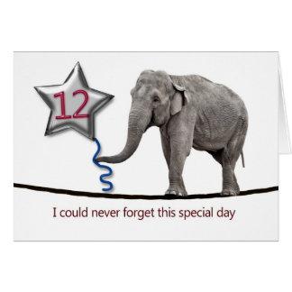 12ème Carte d'anniversaire avec l'éléphant de