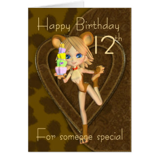 12ème Carte d'anniversaire, collection d'animal de