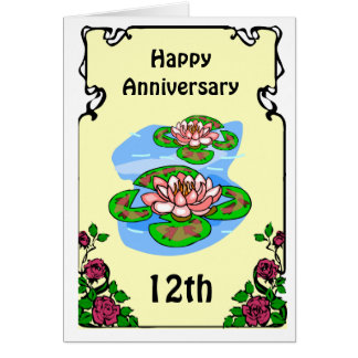 12ème carte d'anniversaire - nénuphars