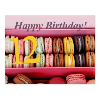 12ème Carte de Macaron d'anniversaire