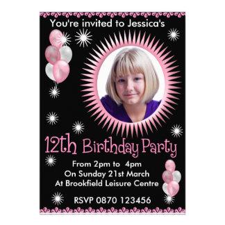 12ème invitation de photo d'anniversaire de filles