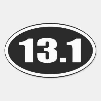 13,1 Texte blanc d'autocollant sur l'arrière - Sticker Ovale