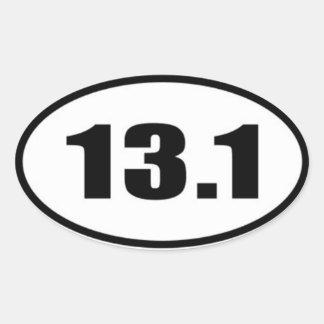 13,1 Texte noir d'autocollant sur l'arrière - plan Sticker Ovale
