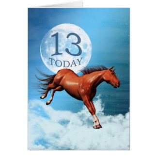 13 années de carte d'anniversaire avec le cheval