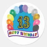 13ème Cadeaux d'anniversaire avec la conception as Autocollants Ronds