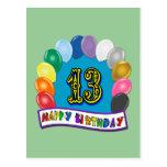 13ème Cadeaux d'anniversaire avec la conception as Cartes Postales