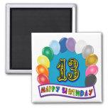13ème Cadeaux d'anniversaire avec la conception as Aimants