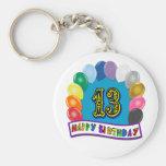 13ème Cadeaux d'anniversaire avec la conception as Porte-clé