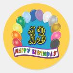 13ème Cadeaux d'anniversaire avec la conception Adhésifs Ronds