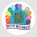 13ème Cadeaux d'anniversaire avec la conception Autocollants Ronds