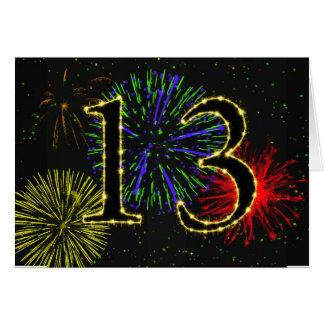 13ème Carte d'anniversaire avec des feux