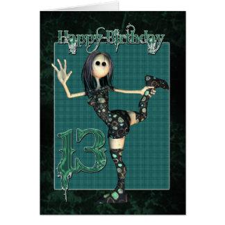 13ème Carte d'anniversaire avec la poupée de