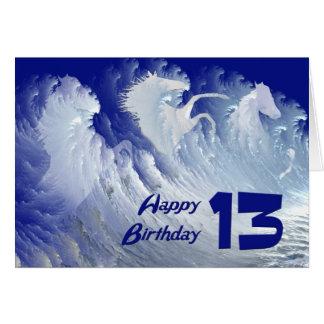 13ème carte d'anniversaire avec les chevaux blancs