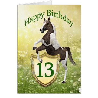 13ème carte d'anniversaire avec un cheval de