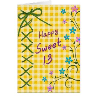 13ème Carte d'anniversaire - guingan jaune