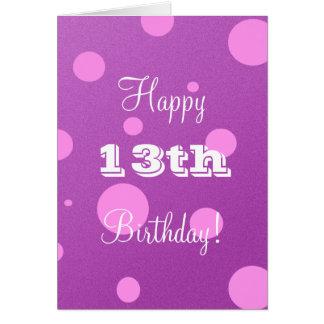 13ème carte d'anniversaire heureuse pour la fille
