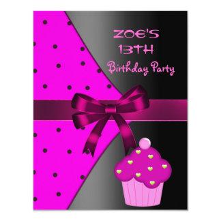 13ème Fête d'anniversaire rose de tache de petit Carton D'invitation 10,79 Cm X 13,97 Cm