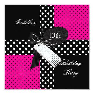 13ème Filles d'adolescent de fête d'anniversaire Carton D'invitation 13,33 Cm