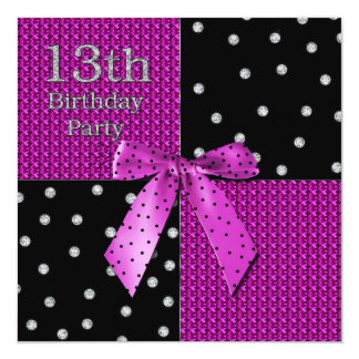 13ème Invitation Girly d'anniversaire -