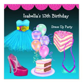 13ème L'anniversaire habillent le rose de Teal de Carton D'invitation 13,33 Cm