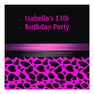 13ème Motif animal noir rose de Fuschia Carton D'invitation 13,33 Cm