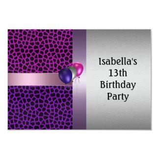 13ème Motif et ballons noirs roses pourpres Carton D'invitation 8,89 Cm X 12,70 Cm