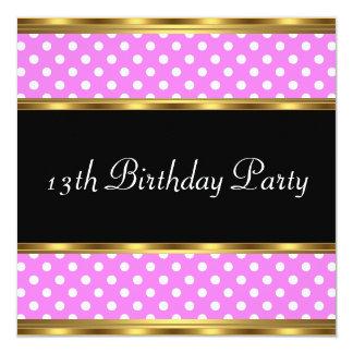 13ème Pois de rose d'or de fête d'anniversaire Carton D'invitation 13,33 Cm