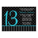 13ème Rayures turquoises de point de polka de noir Carton D'invitation 12,7 Cm X 17,78 Cm
