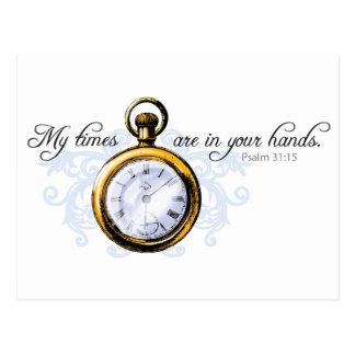 13h15 de psaume - horloge vintage et Flourish Carte Postale