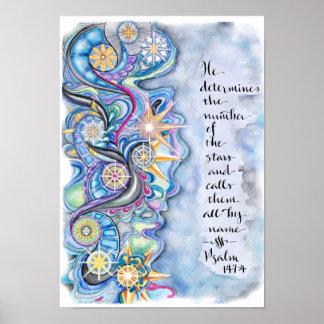147:4 de psaume il appelle l'affiche d'étoiles de posters
