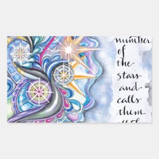 147:4 de psaume il appelle les étoiles de nom sticker rectangulaire