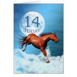 14 années de carte d'anniversaire avec le cheval