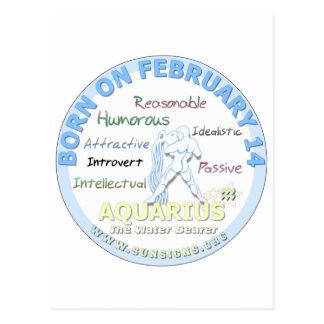 14 février anniversaire - Verseau Carte Postale