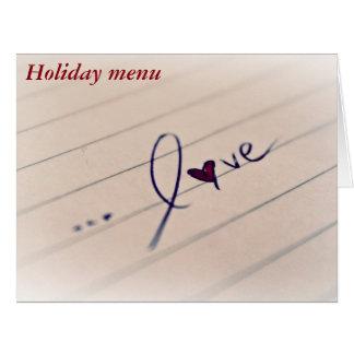 14 février : Menu pour Valentine - Carte De Vœux Grand Format