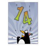 14ème anniversaire - carte de surprise de pingouin