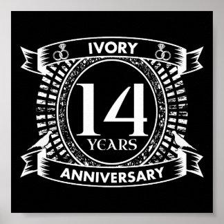 14ème anniversaire d'IVOIRE de mariage Poster