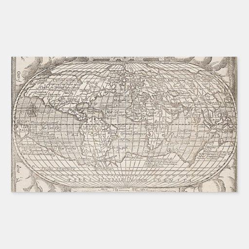 1582, carte du monde, carte antique autocollants en rectangle