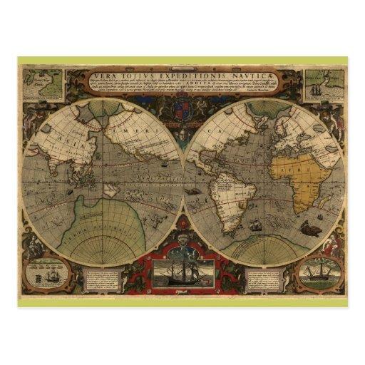 1595 cartes vintages du monde par jodocus hondius carte postale zazzle. Black Bedroom Furniture Sets. Home Design Ideas