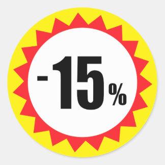 15 pour cent de vente de remise de jaune blanc sticker rond