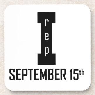 15 septembre conception d'anniversaire dessous-de-verre