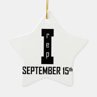 15 septembre conception d'anniversaire ornement étoile en céramique
