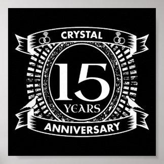 15ème anniversaire de mariage noir et blanc poster